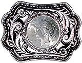 "U.S. Silver Dollar Belt Buckle 3.75"" x 2.5"" – Silver-Tone with Black Enamel – with Uncirculated Peace Silver Dollar"