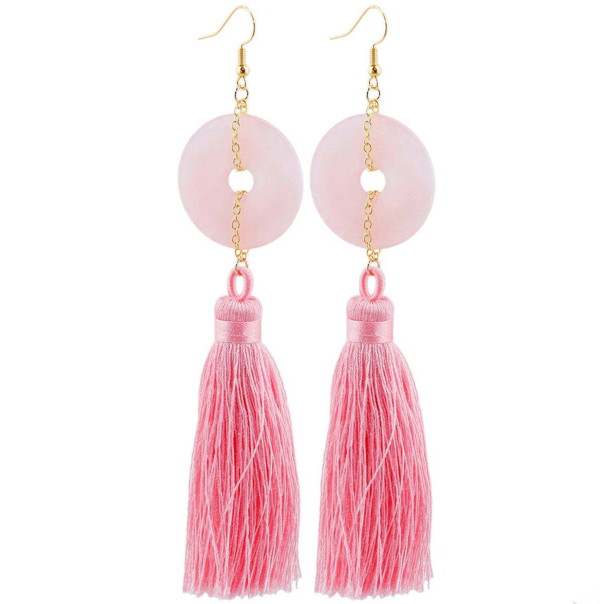 SUNYIK Rose Quartz Round Donut Amulet Tassel Dangle Earrings for Women