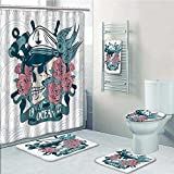 Nalahome 5-piece Bathroom Set-Includes Shower Curtain Liner, Skull Covered Roses Captain Hat Dead Bird Mexican Sugar Print Petrol Blue Decorate the bathroom(Large size)