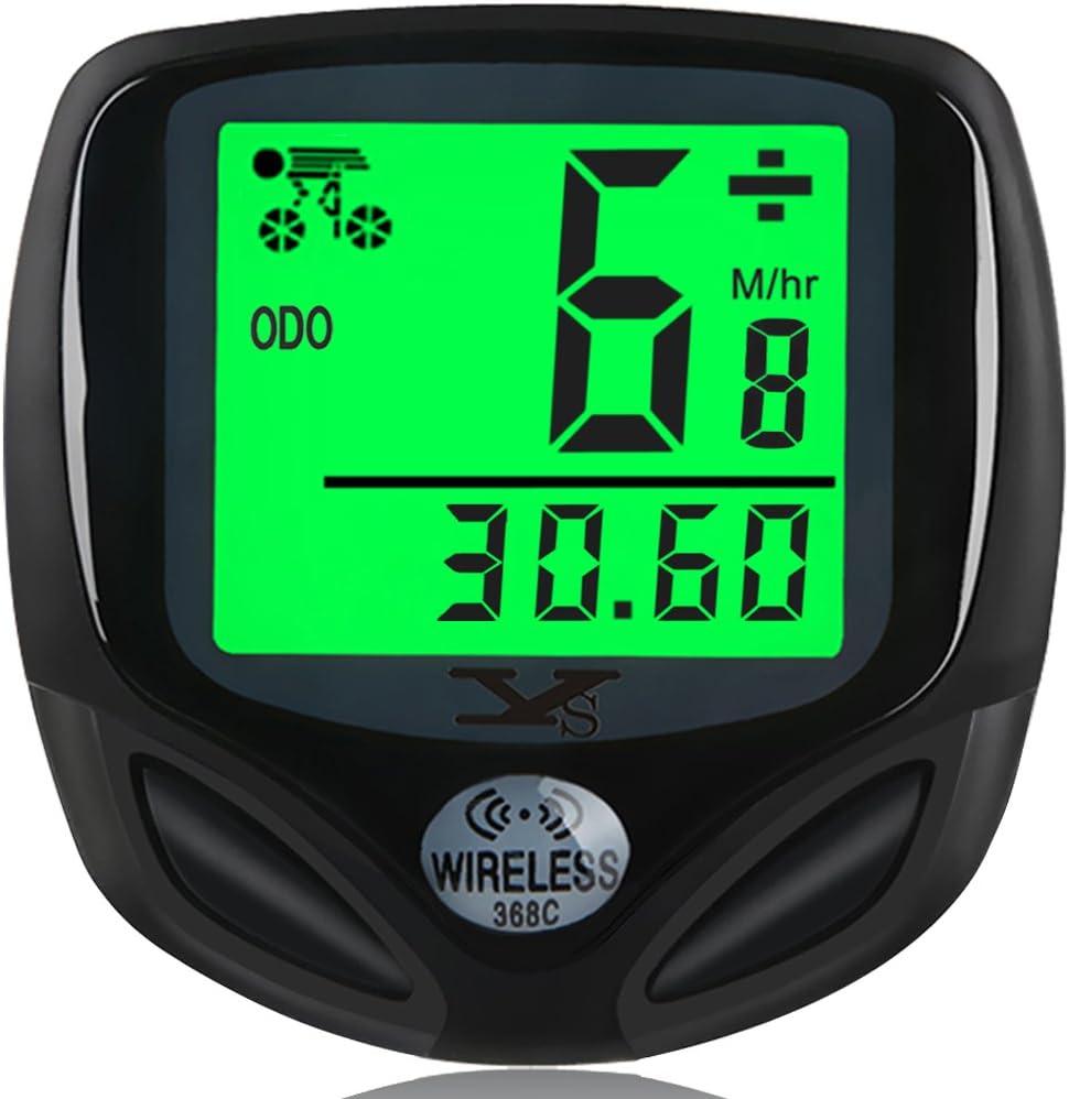 DINOKA Bike Speedometer Waterproof Wireless Bicycle Bike Computer and Cycling Odometer with Automatic Wake-up Multi-Function LCD Backlight Display