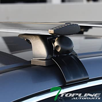 Silver Topline Autopart Universal 55 Window Frame Style Aluminum Roof Rack Rail Cross Bars