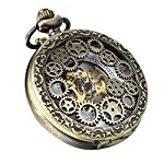 Avaner Steampunk Retro Half Hunter Copper Gear Skeleton Hand Wind Mechanical Roman/Arabic Numeral Analog Display Pocket… 7