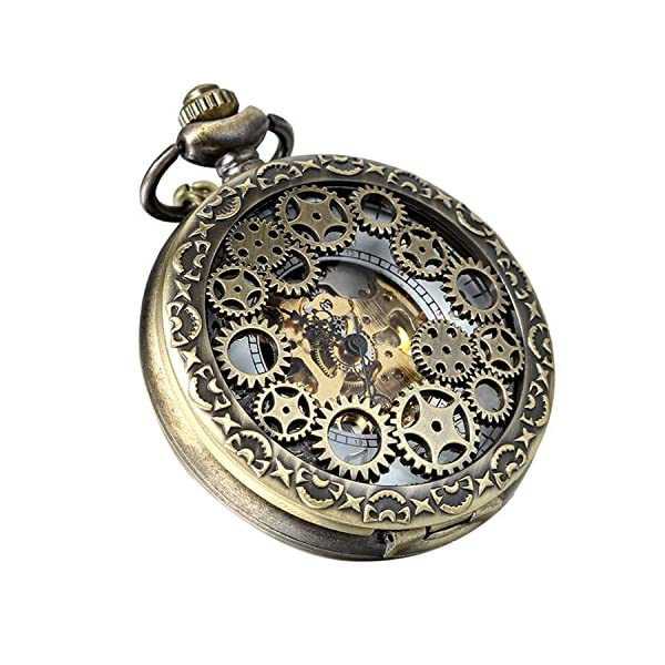 Avaner Steampunk Retro Half Hunter Copper Gear Skeleton Hand Wind Mechanical Roman/Arabic Numeral Analog Display Pocket… 4