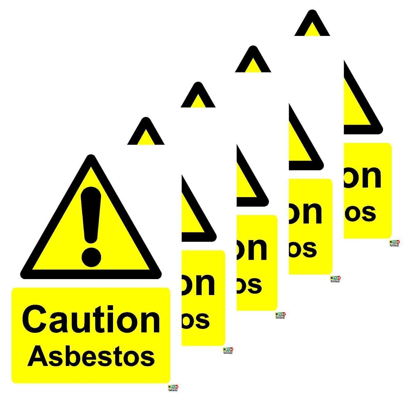 Self adhesive stickers 70mm x 50mm Caution Asbestos Safety Sign PACK OF 5 STICKERS