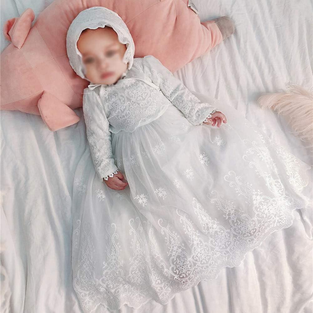 Bmeigo Abiti da Battesimo per Beb/è Bambina Vestito da Cerimonia Principessa Formale in Pizzo a Maniche Lunghe Cofano Bianca