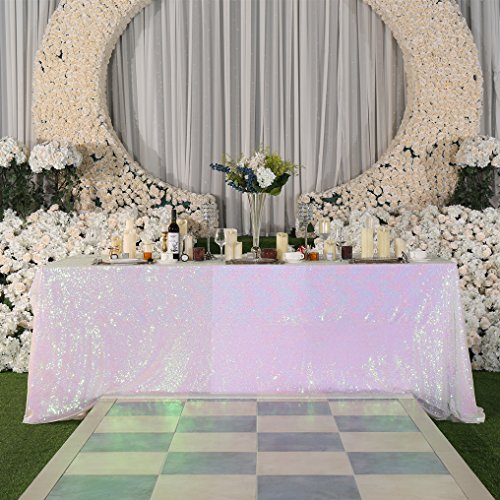 (PartyDelight Sequin Tablecloth, Wedding, Sweetheart, Christmas Tree, Rectangular, 90