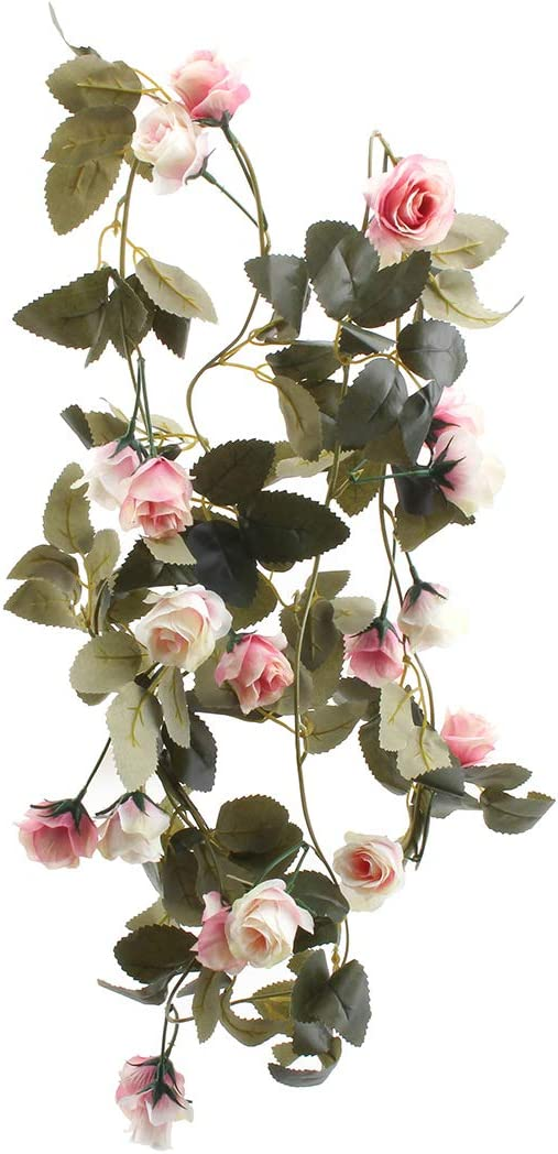 Flojery 6.8 Ft Silk Flower Vines for Wedding,Hanging Rose GarlandHome Decor,Artificial Rose Vine for Party(Pack of 2)(Light Pink)