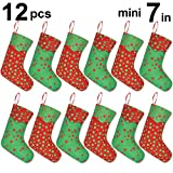 Ivenf 12 Pack 7'' Glitter Round Dots Mini Christmas Stockings Gift Card Bags Holders, Bulk Personalized Treats for Neighbors Coworkers Kids Cats Dogs, Small Rustic Felt Red Xmas Tree Decorations Set