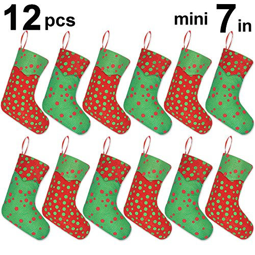 Ivenf 12 Pack 7'' Glitter Round Dots Mini Christmas Stockings Gift Card Bags Holders, Bulk Personalized Treats for Neighbors Coworkers Kids Cats Dogs, Small Rustic Felt Red Xmas Tree Decorations Set by Ivenf