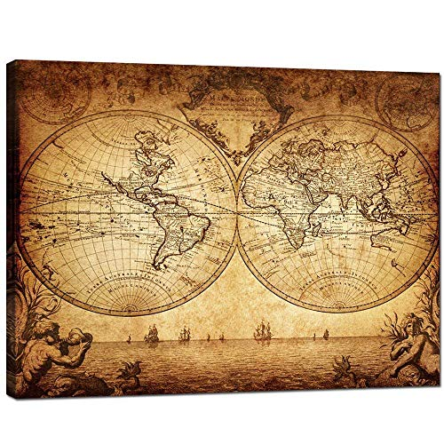 (sechars - Vintage Map Wall Art Large Old Globe World Map Poster Framed Antique Living Room Office Decoration Gallery Canvas Wrapped Ready to Hang,-32