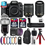 Holiday Saving Bundle for D7500 DSLR Camera + 55-200mm VR II Lens + AF-P 18-55mm + Flash with LCD Display + Battery Grip + 6PC Graduated Color Filter + 2yr Extended Warranty - International Version