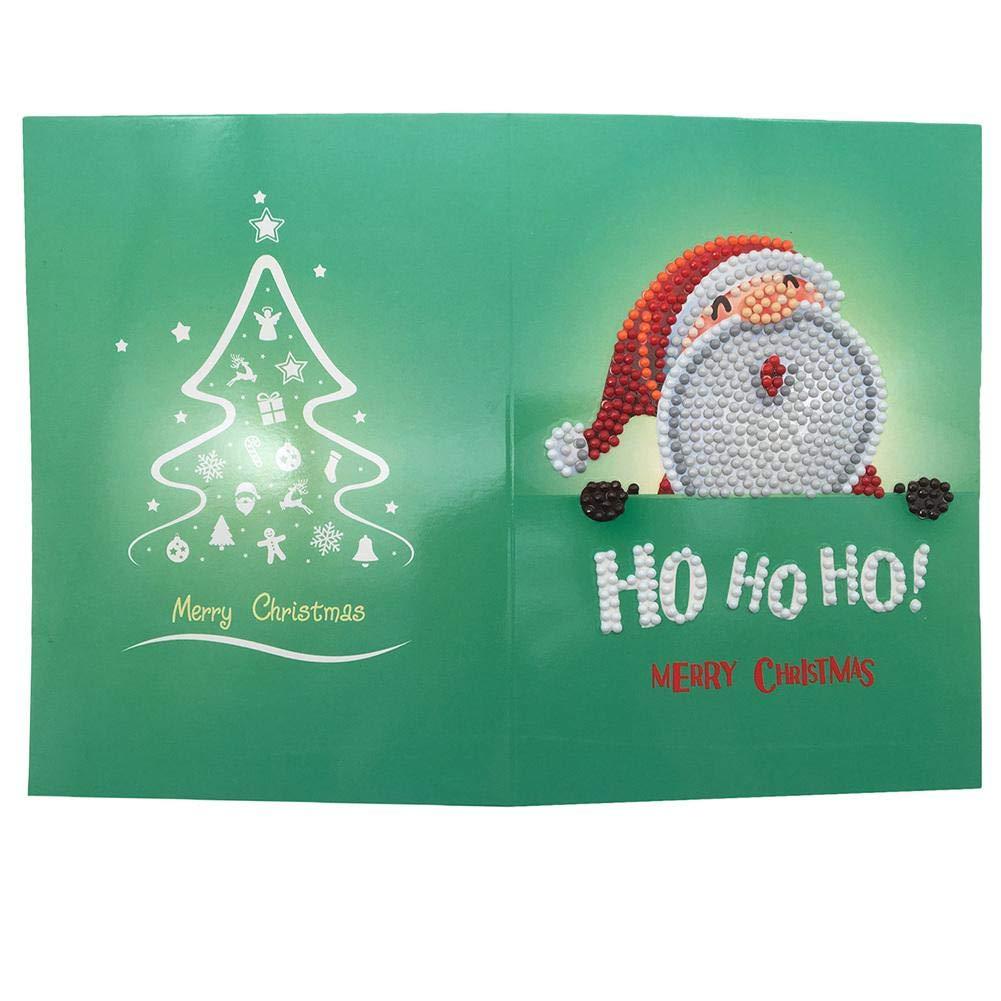 Pittura Diamante Rotondo Trapano Biglietti di Auguri per Festa di Compleanno Regalo di Capodanno AIflyMi 8 Pz Fai da Te Pittura Diamante 5D Trapano Completa Cartone Animato Babbo Natale Cartolina
