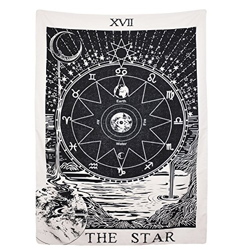 (BLEUM CADE Tarot Tapestry The Moon The Star The Sun Tapestry Medieval Europe Divination Tapestry Wall Hanging Tapestries Mysterious Wall Tapestry Home Decor (51