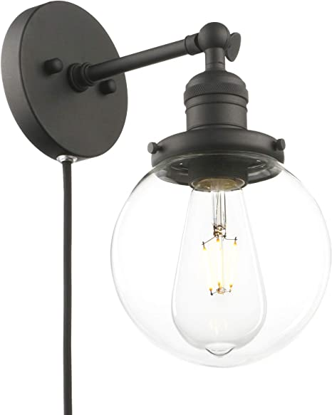 Phansthy Matte Black Sconce With Switch Plug In Sconce Bathroom Vanity Light With 5 9 Incles Globe Glass Canopy Amazon Com