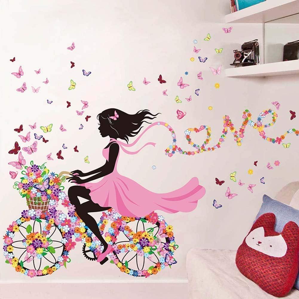 SWORNA Nature Series SN49 Flower Butterfly Girl on Bicycle Removable Vinyl DIY Wall Art Mural Sticker Decal Decor for Living Room/Bedroom/Playroom/Hallway/Kindergarten/Home Office/School 28
