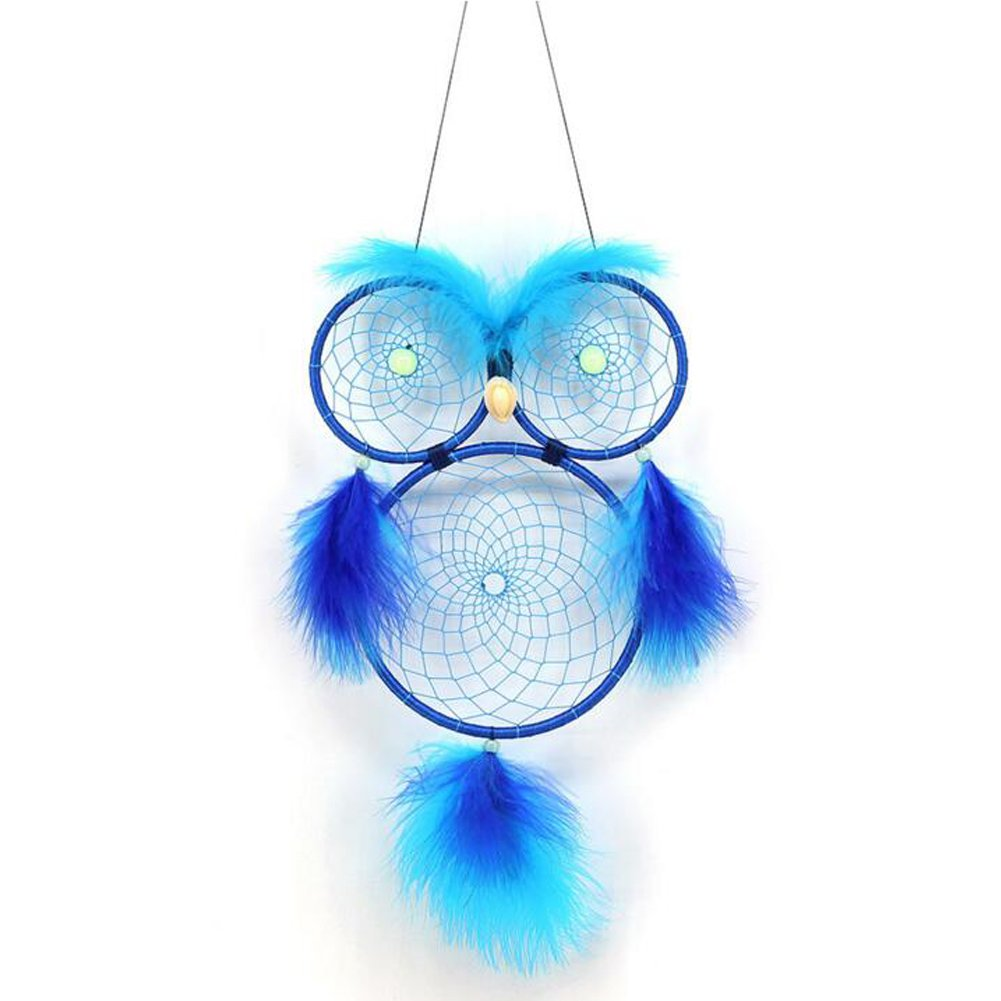 Malicosmile Blue Dream Catcher Owl Luminous, Glow in The Dark Dream Catchers Hanging for Wall Window Bedroom Living Room Owl Decor