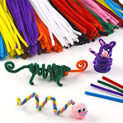 Voberry 100pcs Craft Plush Sticks Toys for DIY Craft Supplies, Children Handmade Metal Silk Creative, Art Supplies Chenille Stems 6 mm x 12 Inch, Colors Pipe Cleaners Craft (Mixing Color) (Random): Sports & Outdoors