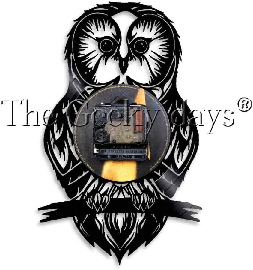 FDGFDG Owl Modern Design Vinyl Record Reloj de Pared Animales Salvajes Habitación para niños Decoración para el hogar Reloj de Pared Tiempo para Owl Hobby Gift: Amazon.es: Hogar