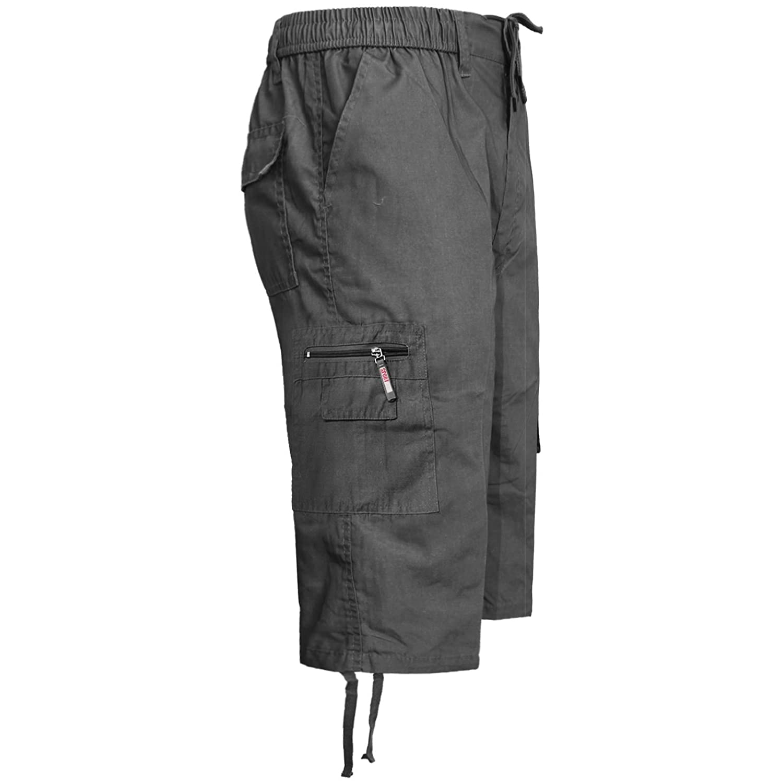 Mens 3//4 Summer Shorts Elasticated Waist Cargo Combat Three Quarter Holiday Pant