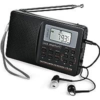 ZHIWHIS AM/FM/SW/LW ワイドバンド ポータブルラジオ 大画面 高感度受信クロックラジオ USB電池式 スピーカー メモリー可能 目覚まし時計機能 ステレオイヤホン付属 (ブラック)
