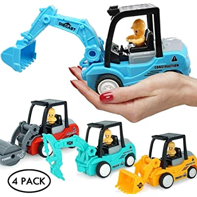 FMRXK 4 Pack Construction Toys Truck Set | Excavator, Bulldozer, Road Roller, Drill Excavator | Friction Powered Cars for Toddlers Push and GO Boys Sandbox Trucks: Toys & Games