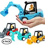 FMRXK 4 Pack Construction Toys Truck Set | Excavator, Bulldozer, Road Roller, Drill Excavator | Friction Powered Cars for Toddlers Push and GO Boys Sandbox Trucks
