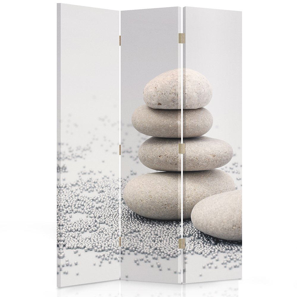 Feeby Frames Canvas Screen, Decorative Room Divider, Paravent, Double sided, 3 panels (110x180 cm) PEBBLES, BEIGE, GRAY