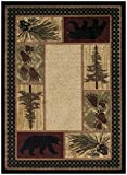 Rustic Lodge Black Bear 5×7 Area Rug, 5'3×7'3 Review