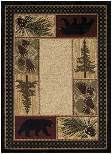 Rustic Lodge Black Bear 5x7 Area Rug, 5'3x7'3 (Pine Lodge Rustic)