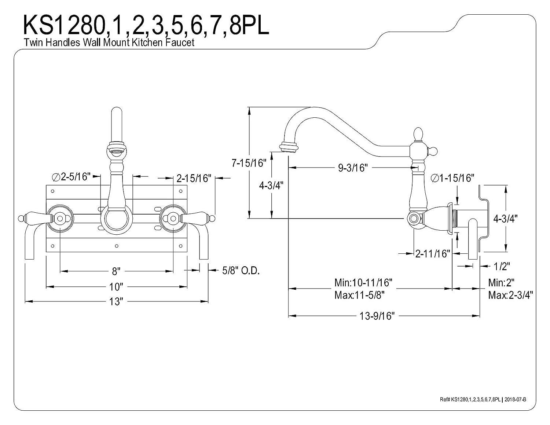 Kingston Brass KS1285PL Heritage 8-Inch Center Wall Mount Vessel Sink Faucet 9-3//16 Inch in Spout Reach Oil Rubbed Bronze