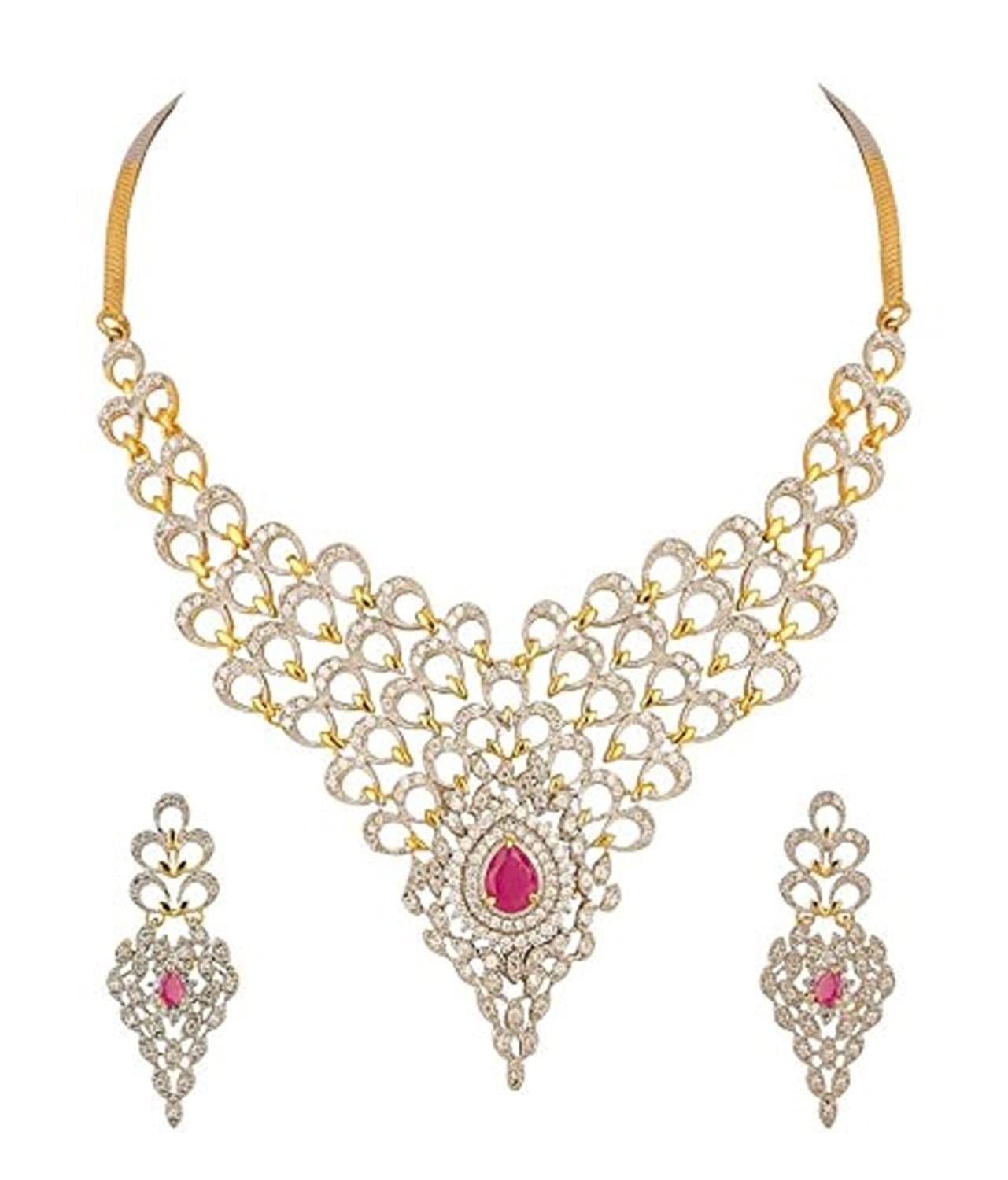 Buy YouBella Jewellery American Diamond Gold Plated Necklace Set ...