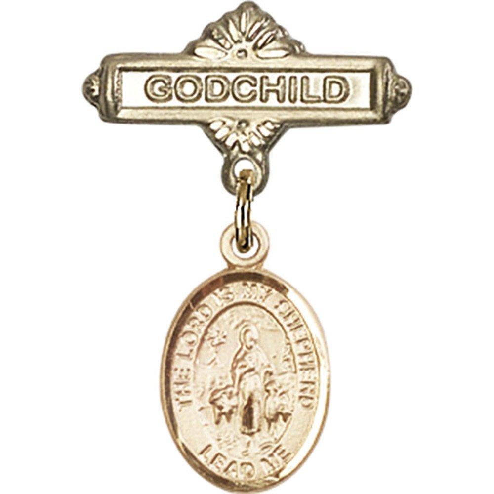 ゴールドFilled Babyバッジwith Lord Is My ShepherdチャームとGodchildバッジピン1 x 5 / 8インチ   B00PQ83RQK