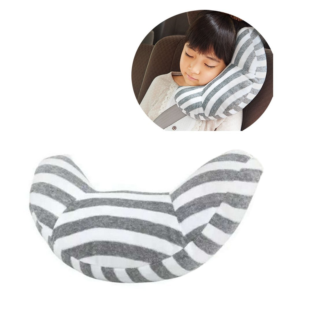 Diagtree Car Seat Travel Pillow Neck Support Cushion Pad and Seatbelt Adjuster for Kids, Safety Belt Sleeping Pillow and Adjuster for Cars, Safety Strap Covers (2 PCS) (Grey+White) by Diagtree
