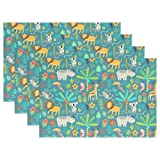 Top Carpenter Tropical Animals And Tree Cute Doodle Place Mats Washable Heat Resistant Polyester Table Mats 12'' x 18'', Set of 4