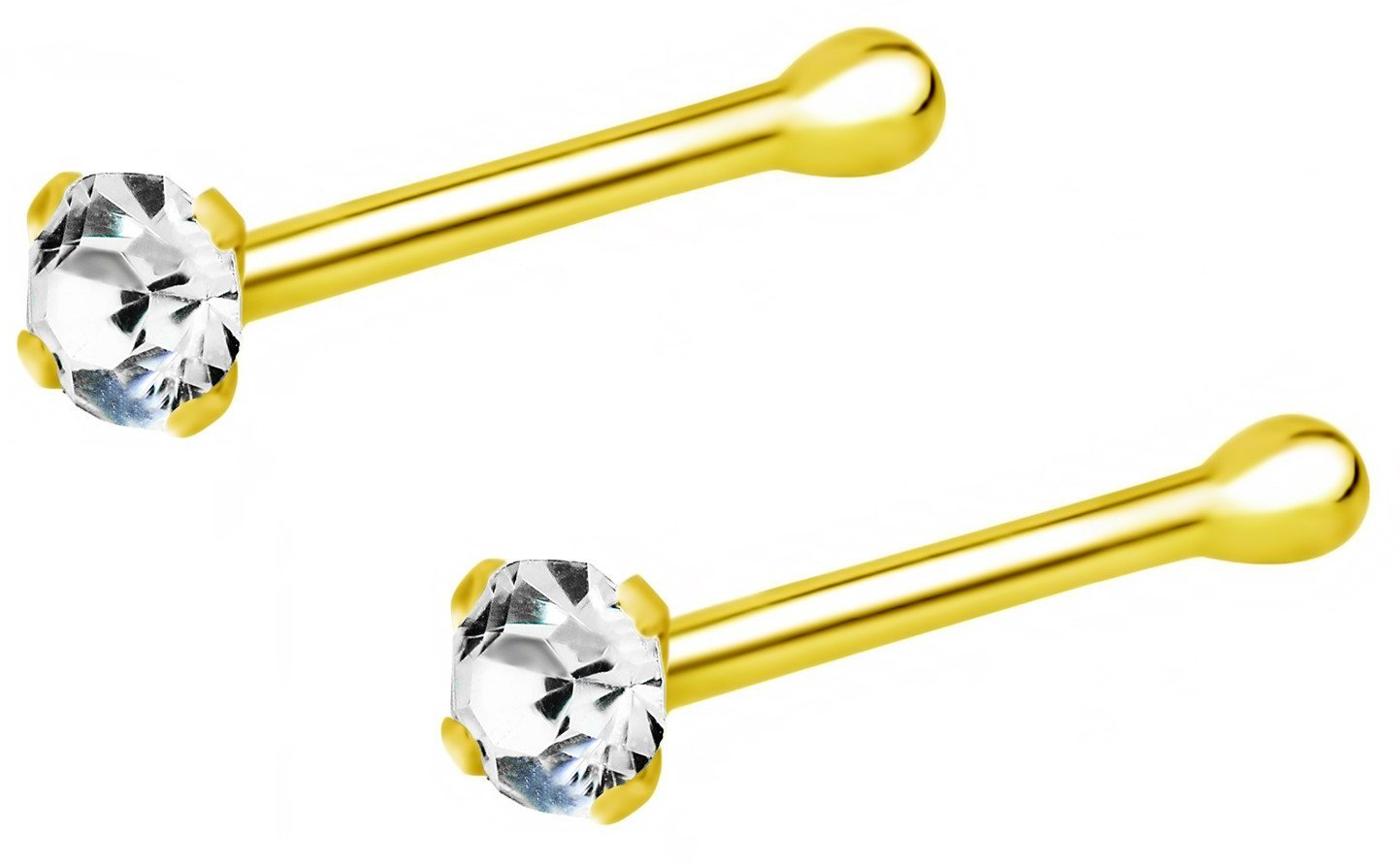 Forbidden Body Jewelry Set of 2: 22g 18k Gold Plated Sterling Silver CZ Simulated Diamond Micro Nose Stud, 1.5mm Crystal