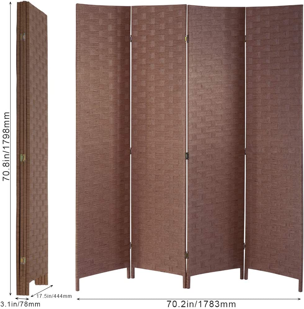 Brown Room/Dividers/and/Folding/Privacy/Screens Curtain Room Partition Privacy Wall 4 Panel 6 ft Foldable Portable Handwork Wood Mesh Woven Design Freestanding Room Separator Wooden Screen