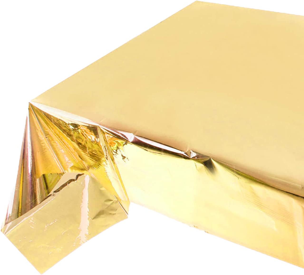 Reofrey 2 Pack Golden Foil Tablecloth Table Cover Shiny Plastic Party Table Cloth for Banquet Festival Party Table Decoration (54x 108 Inch)