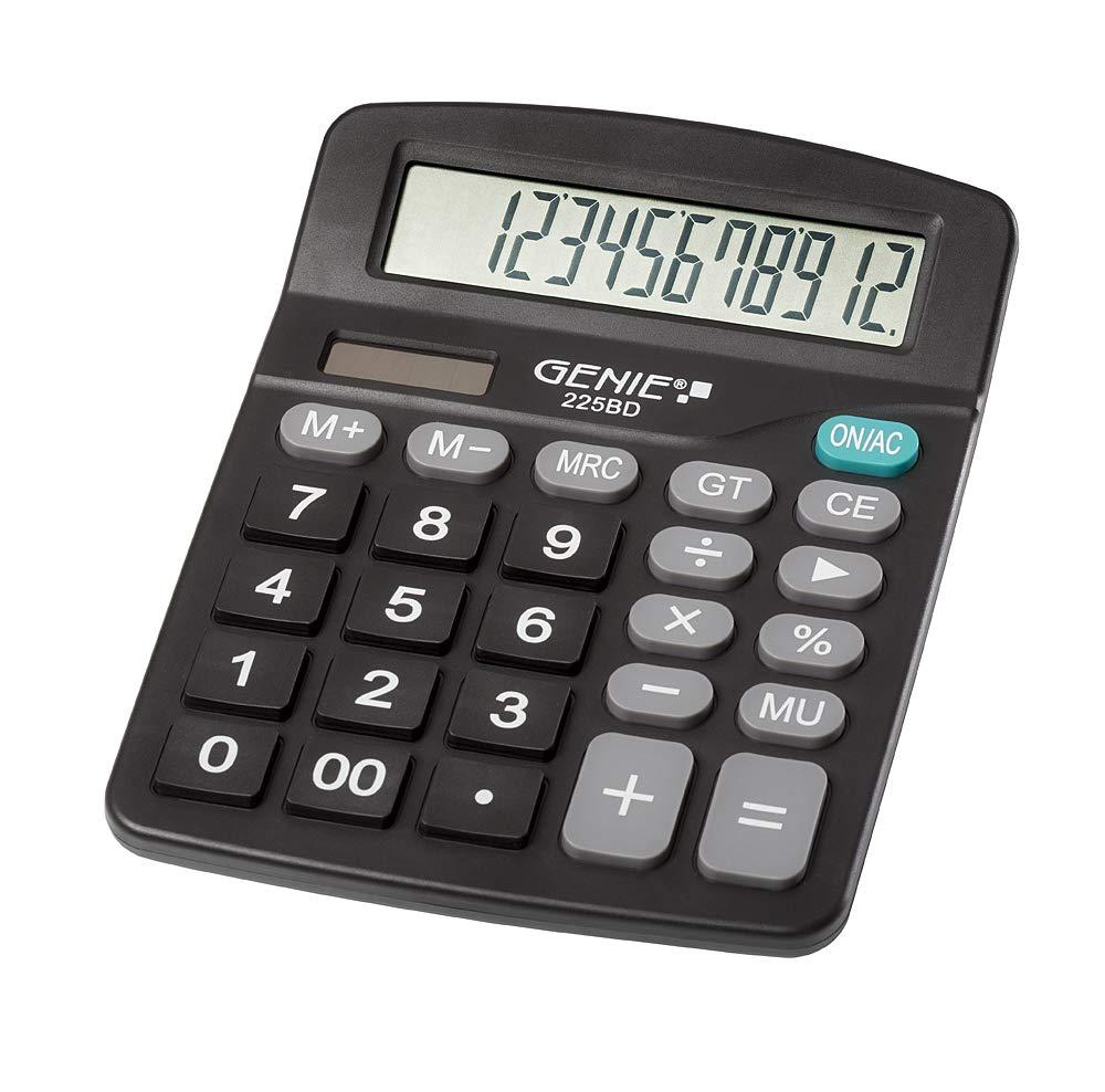 Genie 225 BD de 12 dígitos calculadora, Dual Power (Solar y ...