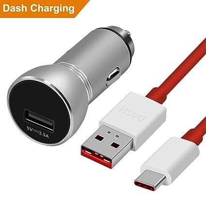 ACOCOBUY Dash Cargador de coche, OnePlus 5V 3,5A Dash móvil OnePlus 5 Dash Cable Cargador Mechero USB Mini adaptador de alimentación con USB tipo C ...