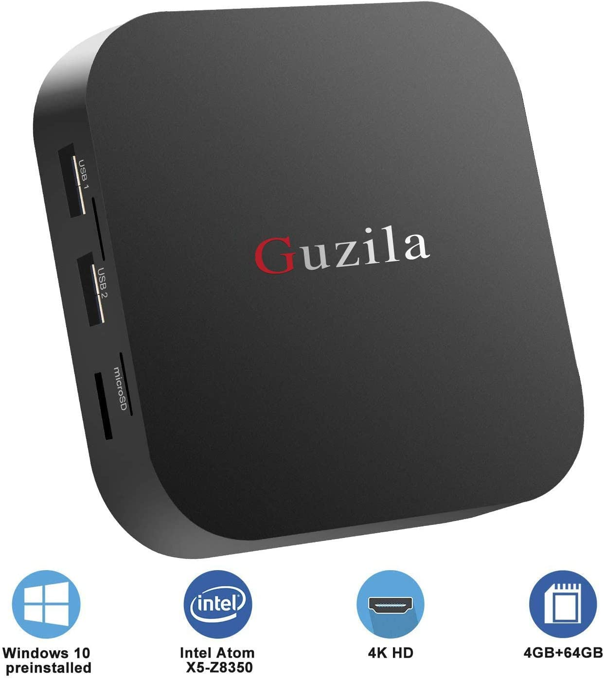 GUZILA Fanless Mini PC Intel Atom Z8350 CPU Windows 10 Pro Mini Desktop Computer 4K HD,Bluetooth 4.2,Dual Band Wi-Fi