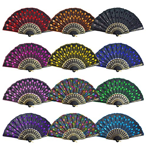 Lee-buty Embroidered Flower Peacock Pattern Folding Fan Colorful