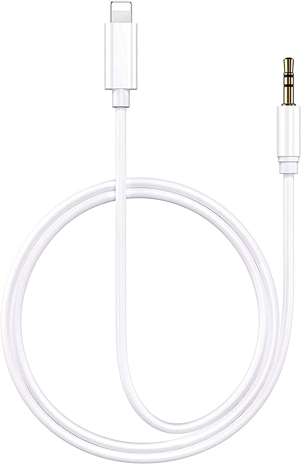 [Apple MFi Certified] iPhone Aux Cord for Car, Lightning to 3.5 mm Headphone Jack Adapter Male Aux Stereo Audio Cable Compatible with iPhone SE/11/11 Pro/XS/XR/X 8 7 iPad/iPod (3.3FT White)