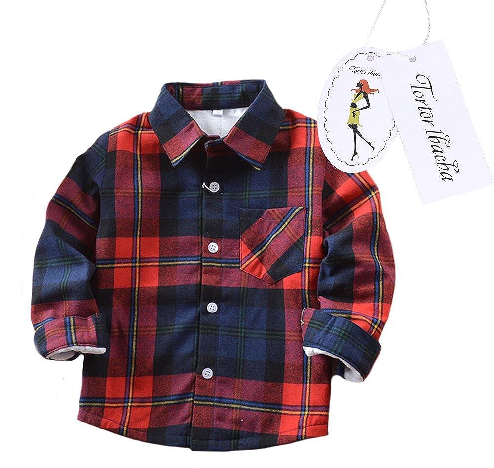Little Girls' Long Sleeve Button Down Plaid Shirt Fleece Lined Blue Red 6 Tortor 1bacha ZHSJ-E007-US-JR-140