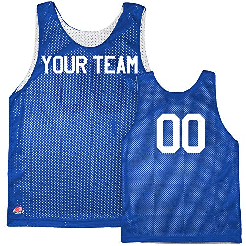 Basic Reversible Custom Basketball Jersey Youth Medium in Royal Blue & White