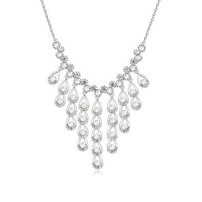 52b619767b61 Blisfille Collar Corazon Abierto Colgante Mujer Soltar Gargantillas  Bisuteria Aleación Joyas de Colgante  Blanco