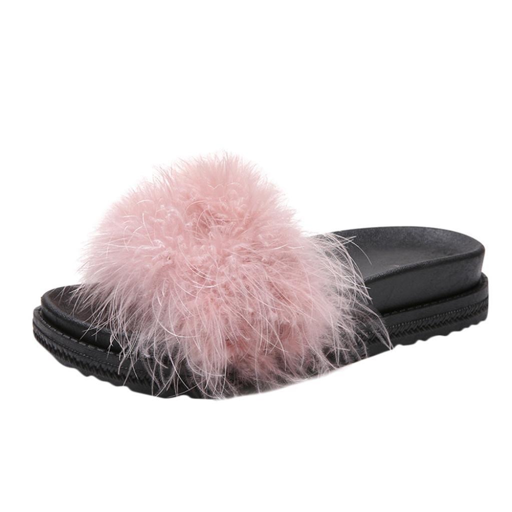 SUEKQ Women's Open Toe Slippers, Fluffy Faux Fur Soft Slide Flat Flip Flops Slip On Sandals for Ladies Girls (5 B(M) US, Pink)