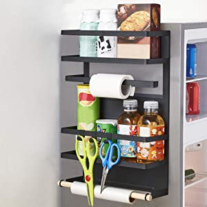 Refrigerator Side Storage Shelf, Bamboo 3-Layer Refrigerator Fridge Organizer, Multifunctional Kitchen Rack Fridge Spice Storage Shelves, Height Adjustable Side Wall Stand (black)