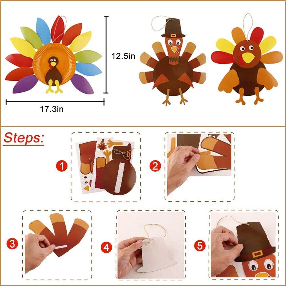 10 Sets Thanksgiving Turkey Craft Kits DIY Door Hangers Fall Thanksgiving Party School Activities Decoration Party Favor for Kids
