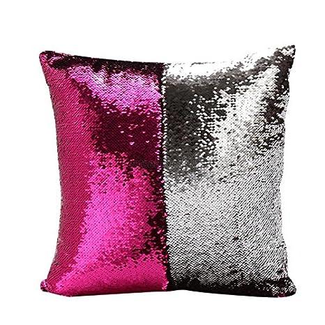 Funda para almohada o cojín reversible en color rosa y negro ...