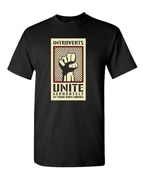 9b26aa0cd Amazon.com: Thread Science Introverts Unite Sarcastic Nerd Loner Funny  Humor Adult Men's T-Shirt Apparel: Clothing